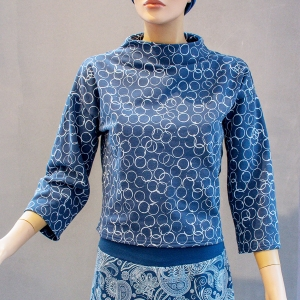 Shirt mit Turtleneck 3/4-Arm blau